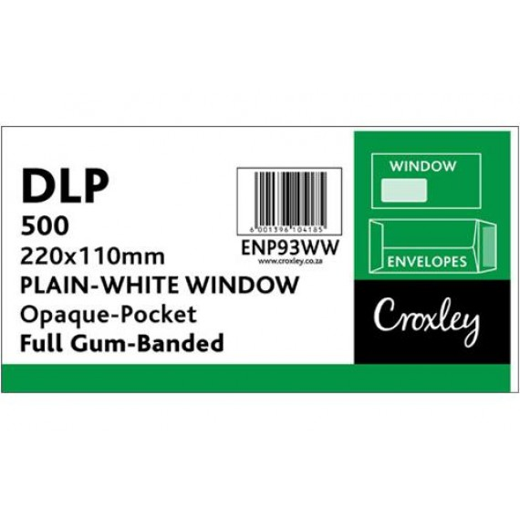 DLP CROXLEY WHITE WINDOW GUMMED UNBANDED (SECURITY) ,BOX-500