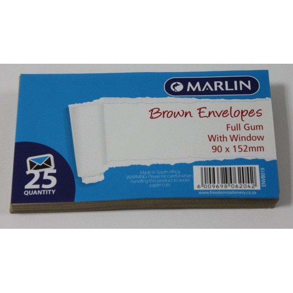 Marlin Envelopes Brown with Window Gum 25's Marlin Envelopes Brown with Window Gum 25's Marlin Envelopes Brown with Window Gum 25's
