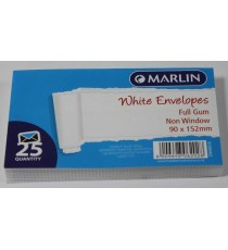 Marlin Envelopes White Gum 25's
