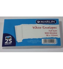 Marlin Envelopes White with Window Gum 25's