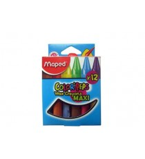 Maped Color'Peps Triagular Maxi Wax Crayons 12's