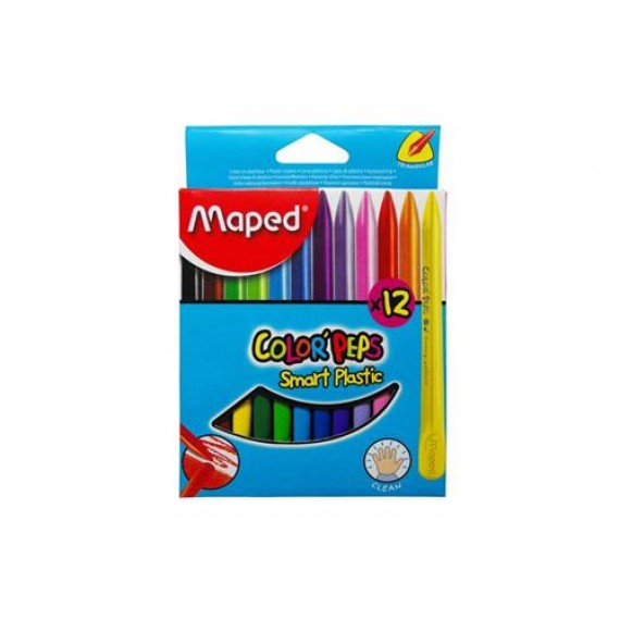 MAPED COLOR'PEPS PLASTIC CRAYONS 6'S  TRIANGULAR DUAL EDGE, CLEAN & SMUDGE FREE