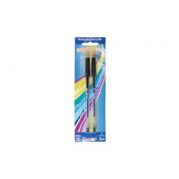 PENGUIN BALL POINT PEN 2PK, CARDED BLACK - WRITES A 1000M (NEW)