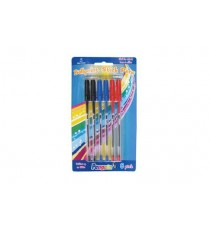 PENGUIN BALL POINT PEN 6PK, CARDED ASSORTED - WRITES A 1000M (NEW)