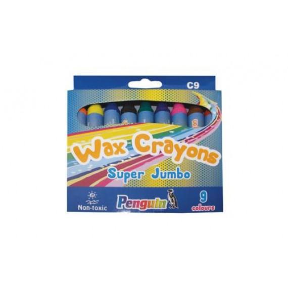 PENGUIN WAX CRAYONS C9 BOX9 SUPER JUMBO