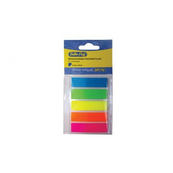 SELLO-FLAG PP FILM TABS 12X44M 5 COLOURS X 25 SHEETS NEON