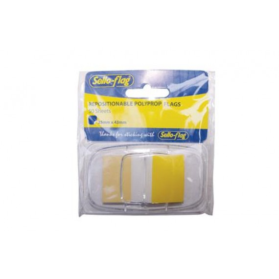 SELLO-FLAG PP TABS 25MMX43MM 1 COLOUR X 50 SHEETS YELLOW IN DISPENCER