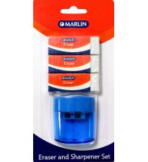 Marlin eraser 3 pack 60 x 20 x 10mm + 2 hole sharpener with container for shavings