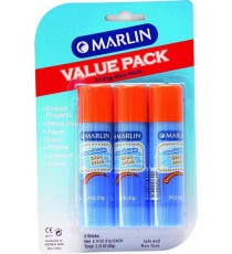 Marlin glue stick non-toxic 21g 3's VALUE PACK