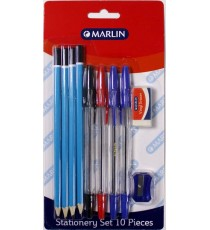 Marlin stationery set 10 piece - 4 pencils, eraser, sharpener, 2 Blue pens, Black & Red pens