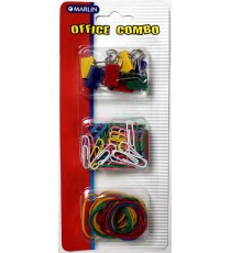 Marlin Office Combo: 8 x fold back clips 19mm, 60 x paper clips 33mm & 30 x rubber bands 32mm