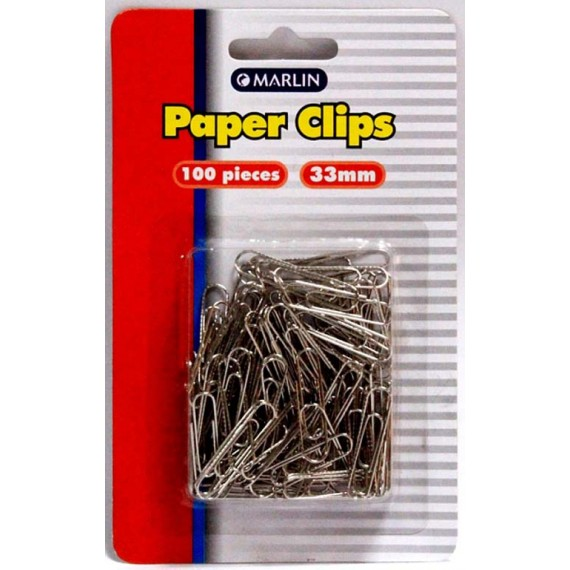 Marlin Silver paper clips 33mm 100's blister card