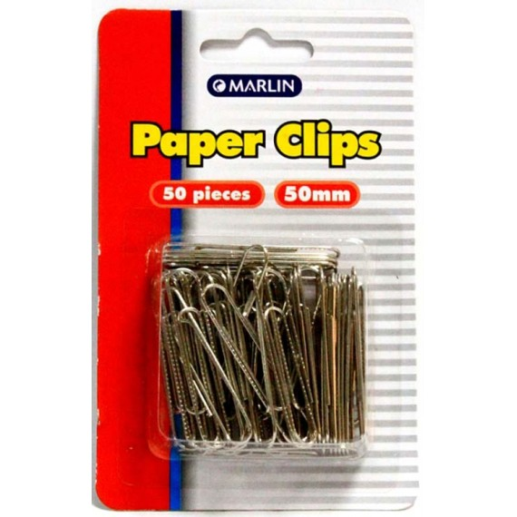Marlin Silver paper clips 50mm 50's blister card