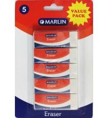 Marlin eraser 60 x 20 x 10mm 5's blister card VALUE PACK