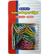 Marlin colour paper clips 33mm 100's blister card