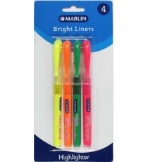 Marlin Bright Liners pen type highlighter 4's assorted colours