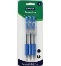 Marlin Arrowline retractable ball pens 3's Blue 0.7mm