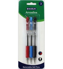Marlin Arrowline retractable ball pens 3's assorted (1 Blue, 1 Black, 1 Red) 0.7mm