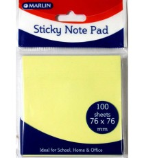 Marlin Sticky Note pad 76 x 76mm 100 sheets Pastel Yellow