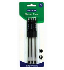 Marlin Master Liner ball pens 3's Black 0.7mm