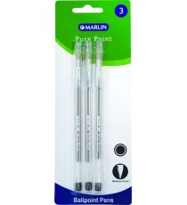 Marlin Pure Point transparent medium pens 3's Black