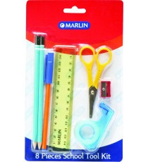 Marlin 8pce school tool kit - 15cm ruler, 2 pencils, eraser, sharpener, blue pen, sellotape, scissor