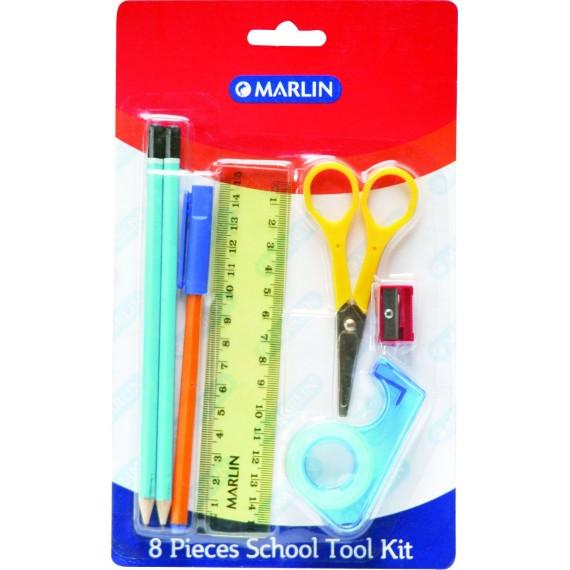 Marlin 8pce school tool kit - 15cm ruler, 2 pencils, eraser, sharpener, blue pen, sellotape, scissor