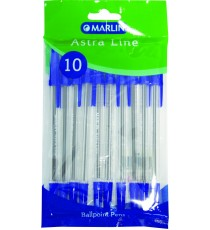 Marlin Astra-Line transparent medium point pens 10's blue
