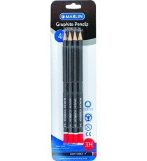 Marlin Graphite Pencils 3H endipped pencil black barrel 4's