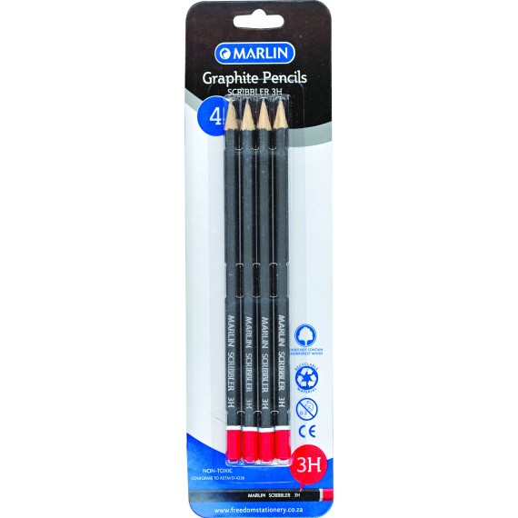 Marlin Graphite Pencils 3H endipped pencil black barrel 4's
