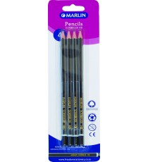 Marlin Scribblers HB endipped pencil black/silver striped blister card 4's