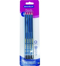 Marlin Scribblers HB endipped pencil blue/navy striped blister card 4's
