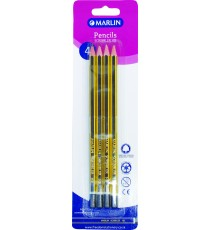 Marlin Scribblers HB endipped pencil blue/yellow striped blister card 4's