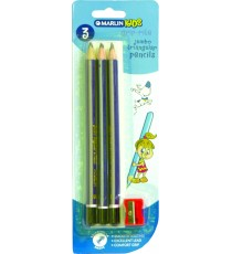 Marlin Kids untipped pencil triangular jumbo blister card 3's + sharpener