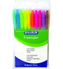 Marlin Free Styler transparent medium point pens 10's asst. colours