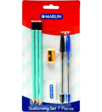 Marlin stationery set 7pce - 3 pencils, eraser, sharpener, blue & black pens