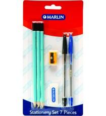Marlin stationery set 7pce - 3 pencils, eraser, sharpener, blue & black pens