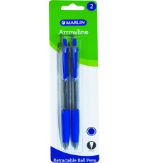 Marlin Arrow-Line retractable pens 2's rubber grip blue 0.7mm