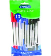 Marlin Astra-Line transparent medium point pens 10's - 4 blue & 4 black & 2 red
