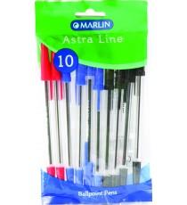 Marlin Astra-Line transparent medium point pens 10's - 4 blue & 4 black & 2 red