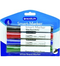 Marlin Smart-Marker White Board Markers 4's asst. - black/blue/red/green