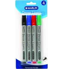Marlin Dense Liners Permanent markers 4's asst. - black/blue/red/green