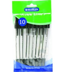Marlin Astra-Line transparent medium point pens 10's black