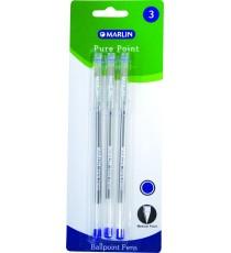 Marlin Pure Point transparent medium pens 3's blue