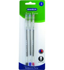 Marlin Pure Point transparent medium pens 3's asst.