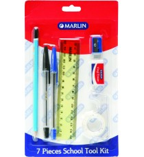 Marlin 7pce school tool kit - 15cm ruler, pencil, eraser, sharpener, blue & black pens, sellotape