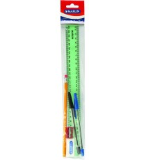 Marlin 30cm ruler kit - 30cm ruler, rubbertipped pencil, eraser, sharpener, black & blue pens