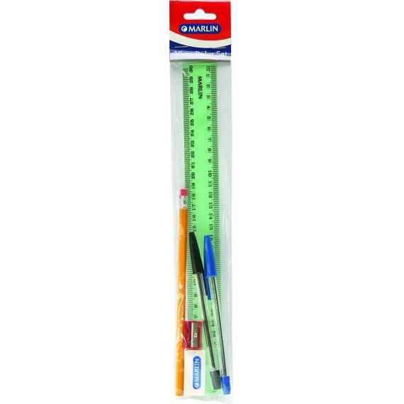 Marlin 30cm ruler kit - 30cm ruler, rubbertipped pencil, eraser, sharpener, black & blue pens