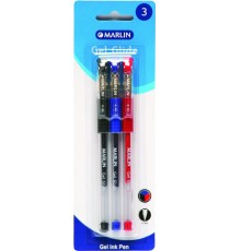 Marlin Gel Glide gel ink pens 3's asst. 0.7mm