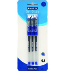 Marlin Gel Glide gel ink pens 3's blue 0.7mm